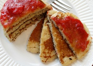 absolutely the best pancakes ever with strawberry jam