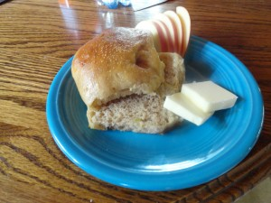 Roasted buckwheat apple dinner rolls