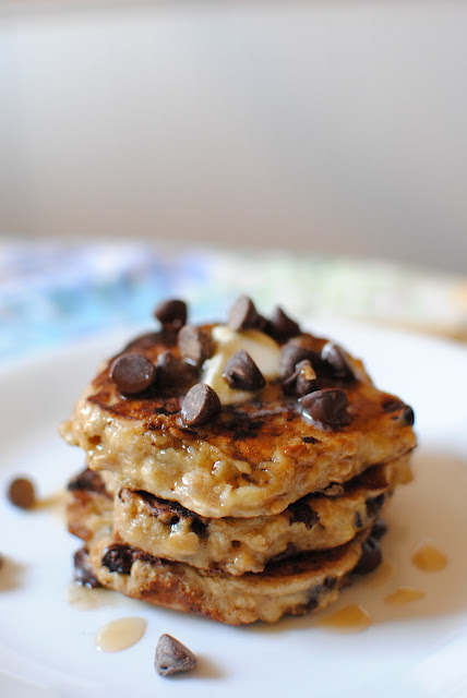 Whole Grain Oatmeal Chocolate Chip Pancakes