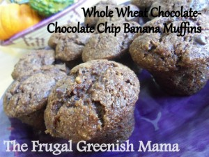 Whole Wheat chocolate-chocolate chip banana muffins