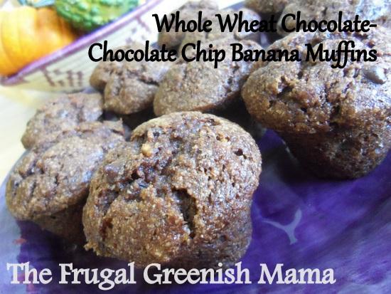 Whole Wheat chocolate-chocolate chip banana muffins
