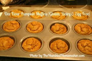 Oat Flour Pumpkin Muffins {Gluten, Dairy and Egg Free!}