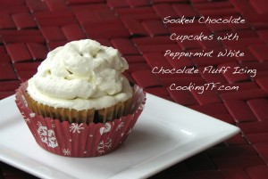 soaked chocolate cupcakes with peppermint white chocolate fluff icing- gluten-free, egg-free, dairy-free