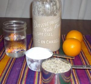 3 ingredient sourdough starter -- rye flour, water, and sea salt