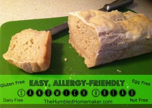 Easy, Allergy-Friendly Sandwich Bread Recipe {gluten, egg and dairy free}