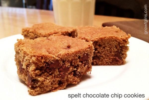 Spelt Chocolate Chip Bar Cookies