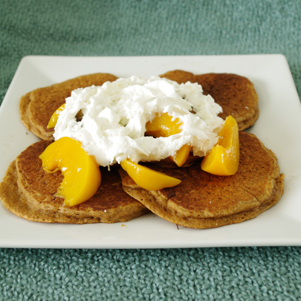 Whole Grain Peach Pancakes