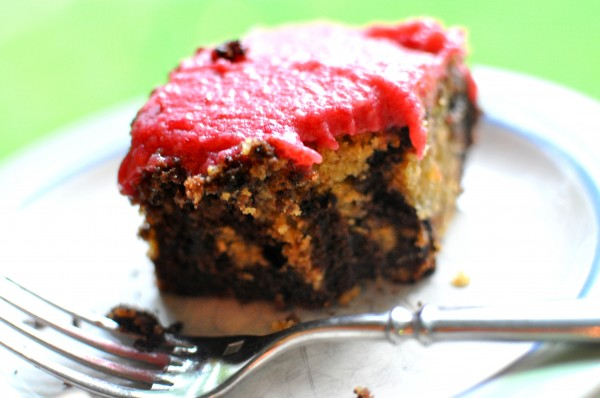 Chocolate Vanilla Marble Cake with Raspberry Frosting