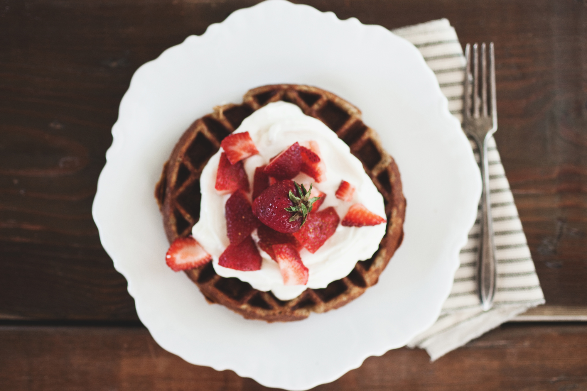 Whole-Grain Waffles With Sliced Strawberries And Yogurt ...