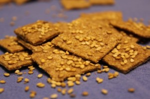 Whole Wheat Cardamom and Sesame Seed Crackers