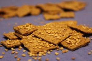 Whole Grain Crackers with Cardamom & Sesame Seeds