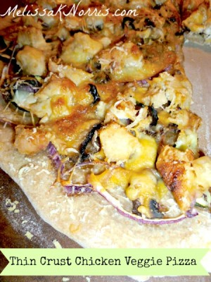 Thin Crust Chicken Veggie Pizza