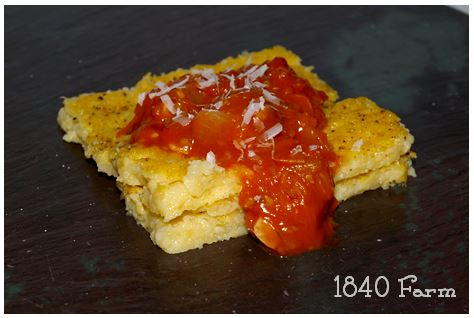 Oven Baked Polenta with Heirloom Tomato Sauce
