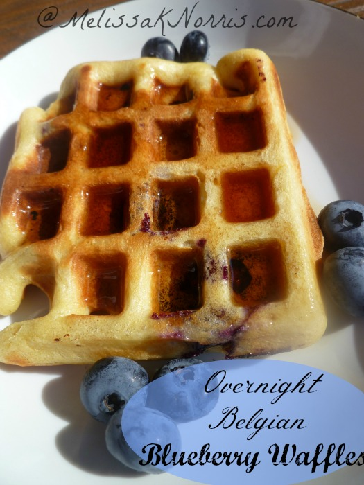 Belgian Overnight Blueberry Waffles