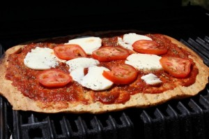 Making Pizza Margherita on the Grill