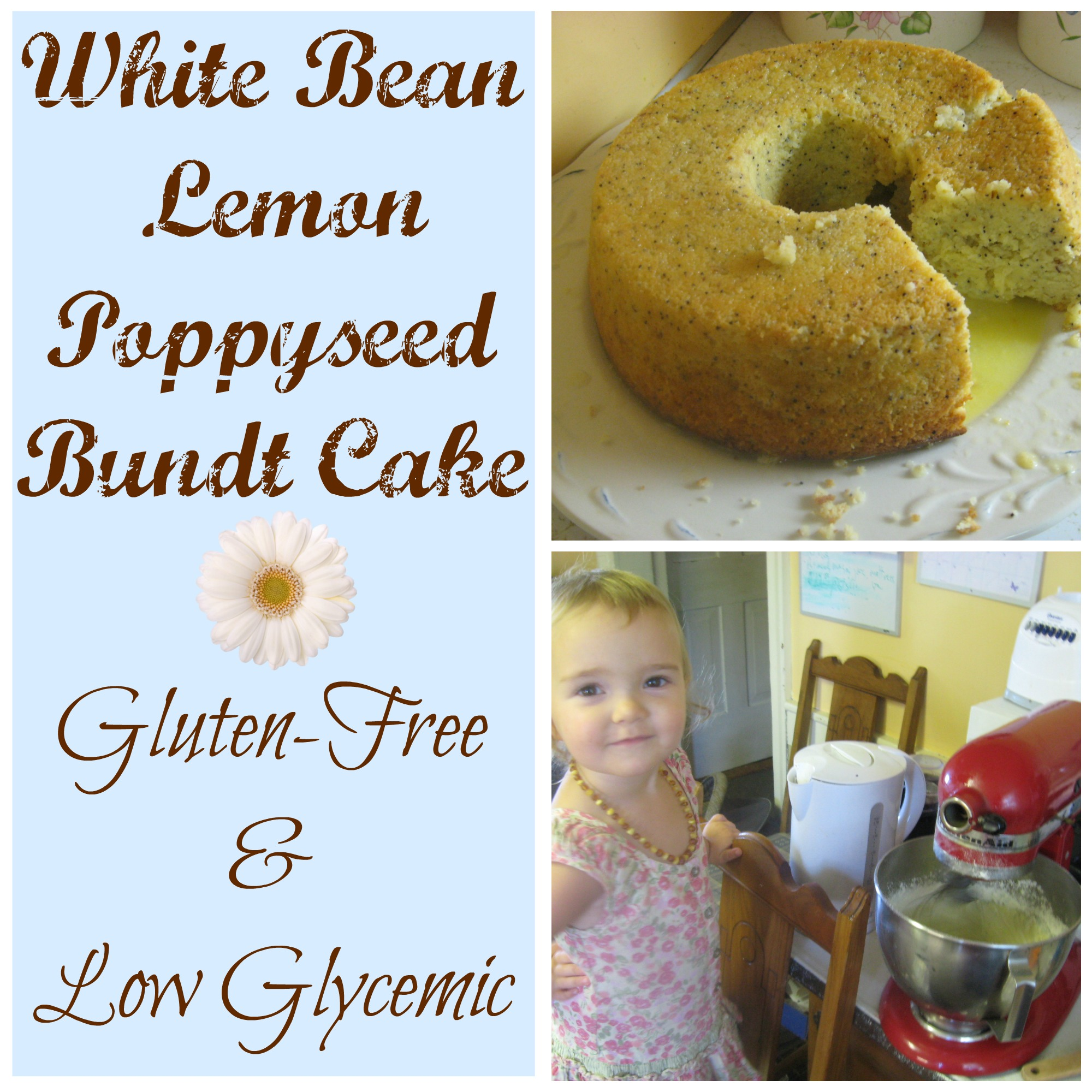 White Bean Lemon Poppyseed Bundt Cake {Gluten-free, Low-glycemic}