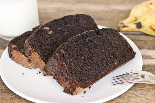 Whole Wheat Chocolate Banana Bread from bibberche.com