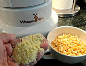 Grinding popcorn into cornmeal is quick and easy.