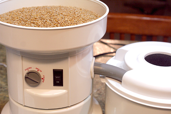 Grinding wheat in my Wondermill Grain Mill