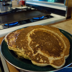 whole wheat pancakes made with all dry goods