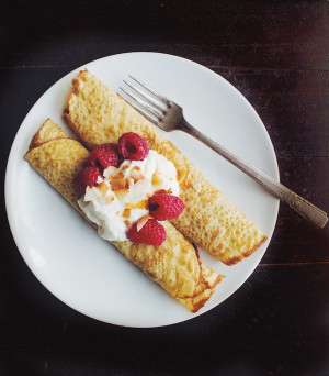 Millet Oat Crepes with Raspberries and Toasted Coconut