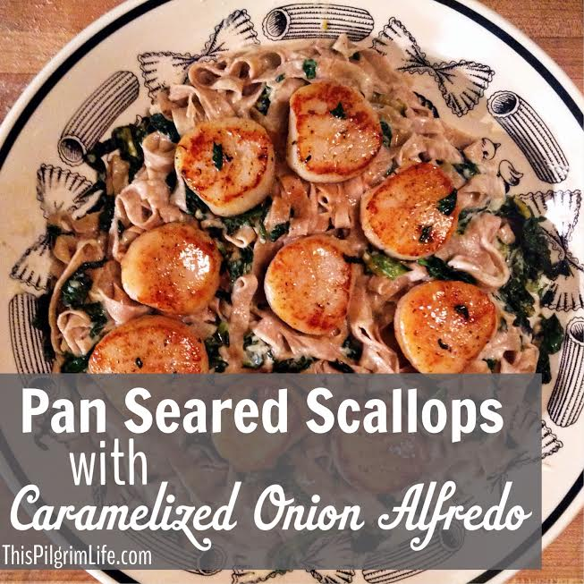 Pan Seared Scallops with Caramelized Onion Alfredo