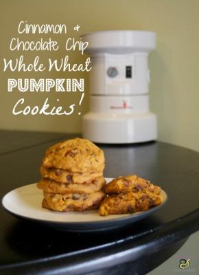 Cinnamon & Chocolate chip Whole Wheat Pumpkin Cookies