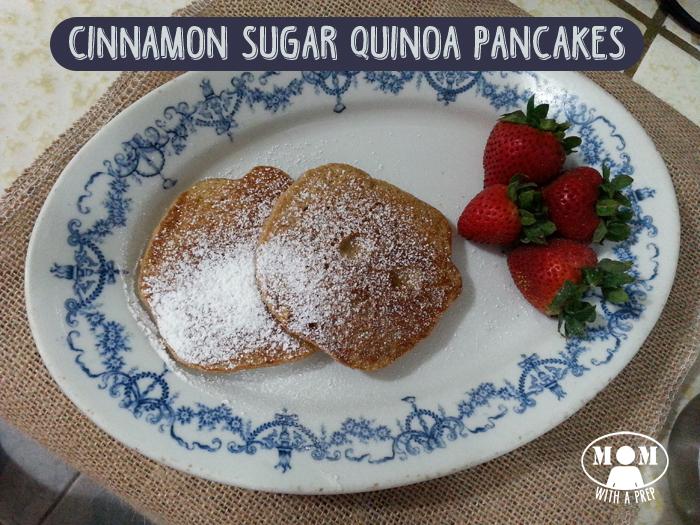 Cinnamon Sugar Quinoa Pancakes from Momwithaprep